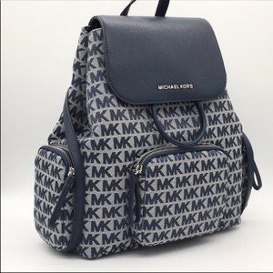NWT MICHAEL KORS ABBEY CARGO BACKPACK NAVY MULTI